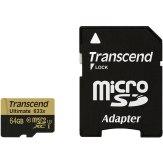 Mémoire Transcend MicroSDXC 64GB 633x + Adaptateur SD