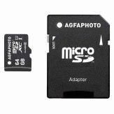 AgfaPhoto Carte Mémoire microSDXC 64GB Classe 10 + adaptateur