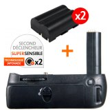 Kit Grip d'alimentation Gloxy GX-D80 + 2 Batteries EN-EL3E