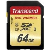 Carte mémoire Transcend SDXC 64GB Classe 10 UHS-I Speed Classe 3