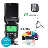 Kit Flash Gloxy GX-F990 avec Softbox Grid et Support
