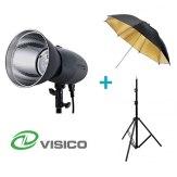 Visico Kit avec un flash studio visico VL-400 Plus + Support + Parapluie Noir et doré