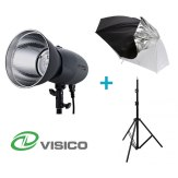 Visico Kit avec un flash studio Visico VL-400 Plus + Support + Parapluie 2 en  1