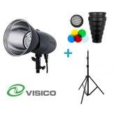 Visico Kit Flash Studio VL-400 Plus + Trépied + Snoot avec filtres et nid d'abeille
