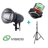 Visico Kit Flash Studio VL-400 Plus + Support + Visières avec filtres et nid d'abeille
