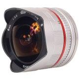 Objectif Samyang 8mm f/2.8 Fish-eye Samsung NX argenté