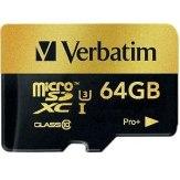 Mémoire Verbatim MicroSDXC 64GB Pro+ Classe 10 UHS-I + Adaptateur