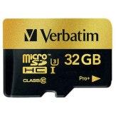 Mémoire Verbatim MicroSDHC 32GB Pro+ Classe 10 UHS-I + Adaptateur