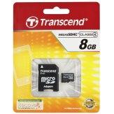 Carte mémoire Transcend MicroSDHC 8GB Classe 4 / incl. adaptateur