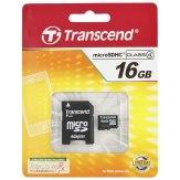 Carte mémoire Transcend MicroSDHC 16GB Classe 4 / incl. adaptateur