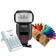 Gloxy GX-F1000 Flash TTL HSS + Chargeur Eneloop 4 piles