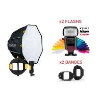 Kit MagMod MagBox 24 Octa Starter + 2 Flashs Gloxy GX-F1000 TTL HSS