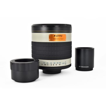 Gloxy 500-1000mm f/6.3 Téléobjectif Mirror Sony E + Multiplicateur 2x pour Sony A6600