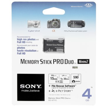 Carte Mémoire Sony Memory Stick 4GB pour Sony A6600