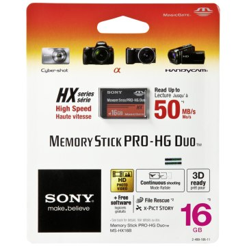 Sony Memory Stick Pro HG Duo HX Mémoire 16GB 50MB/s pour Sony A6600